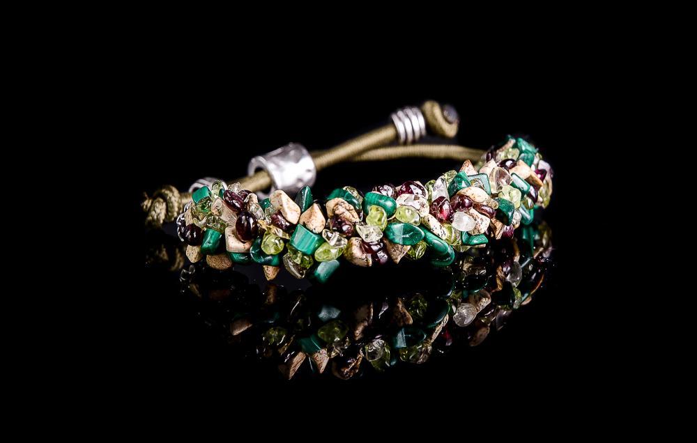 Jasp picasso-Malachit-Peridot-Cuart-Granat BR